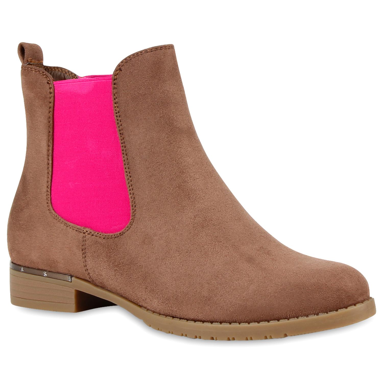Damen Stiefeletten in Braun Pink (891282-3718) - stiefelparadies.de e217219cc2