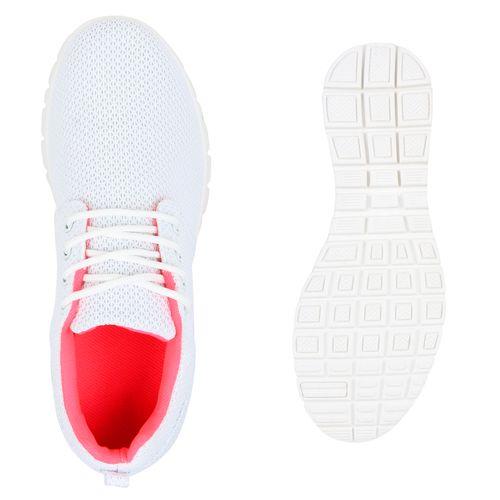 Damen Sportschuhe Laufschuhe - Weiß Neon Pink