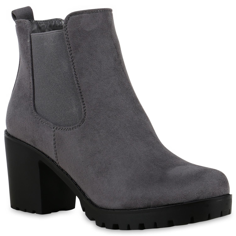 Damen Stiefeletten Chelsea Boots - Grau
