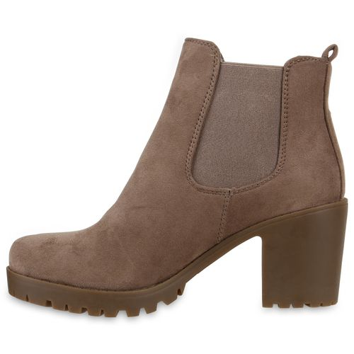 Damen Stiefeletten Chelsea Boots - Khaki Taupe