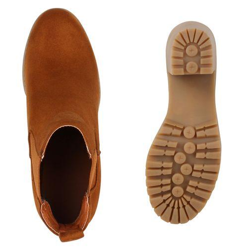 Damen Stiefeletten Chelsea Boots - Hellbraun Khaki