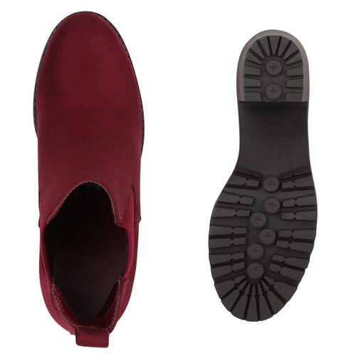 Damen Stiefeletten Chelsea Boots - Weinrot