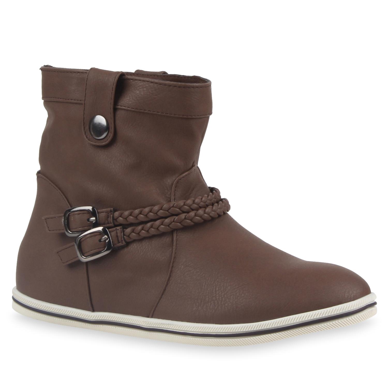 Stiefel für Frauen - Damen Stiefeletten Schlupfstiefeletten Braun › stiefelpardies.de  - Onlineshop Stiefelparadies