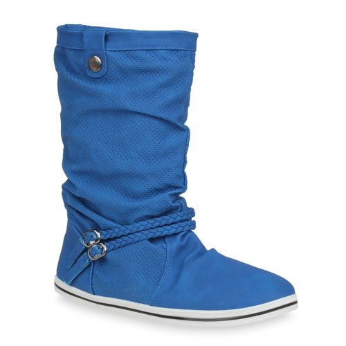 Damen Stiefel Schlupfstiefel - Blau