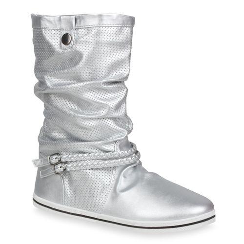 Damen Stiefel Schlupfstiefel - Silber