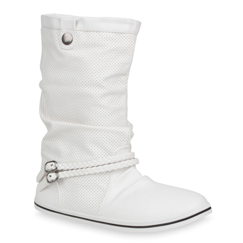 Damen Stiefel Schlupfstiefel - Weiß