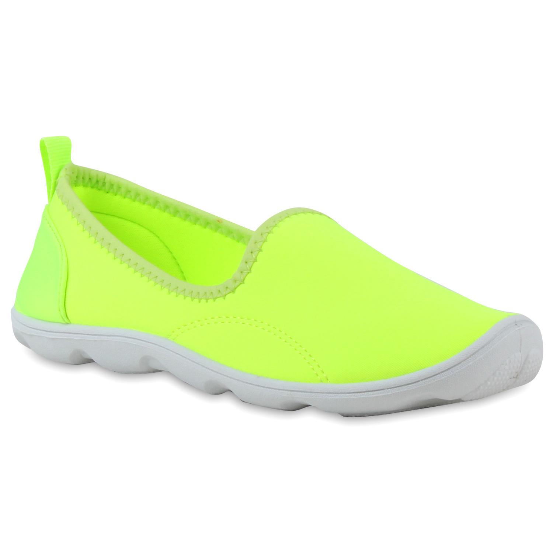 Damen Slippers Slip Ons - Neon Gelb