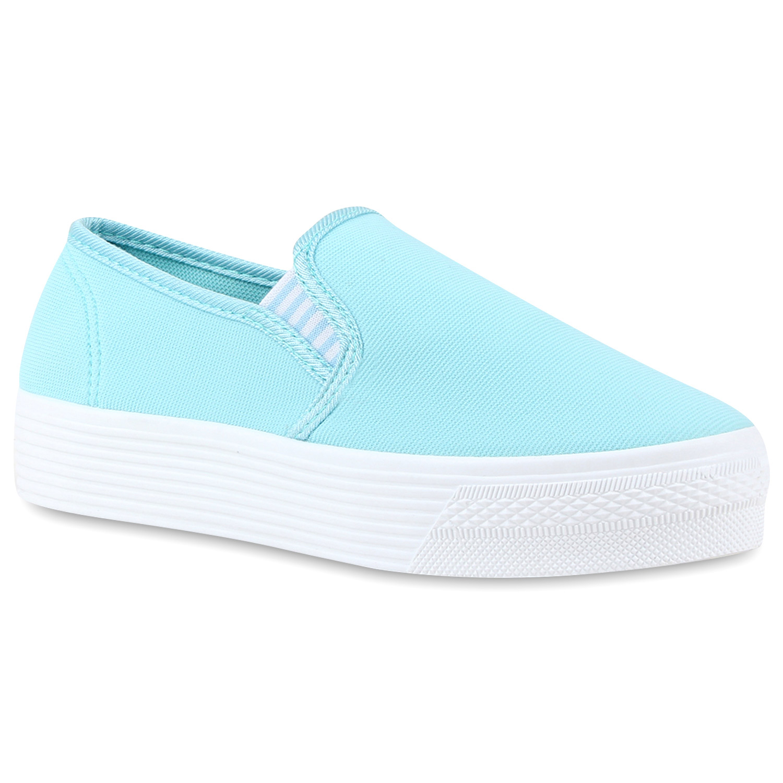 Damen Sneaker Slip Ons - Himmelblau