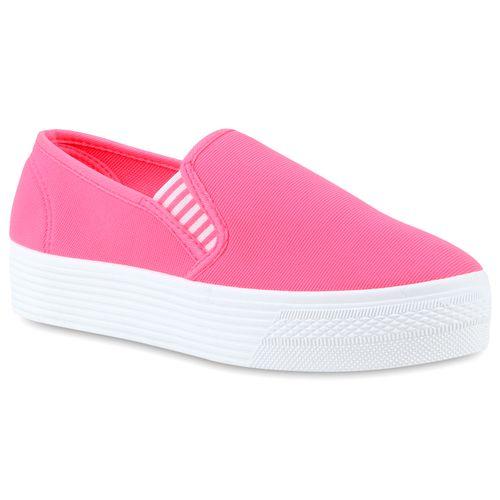 Damen Sneaker Slip Ons - Neon Pink
