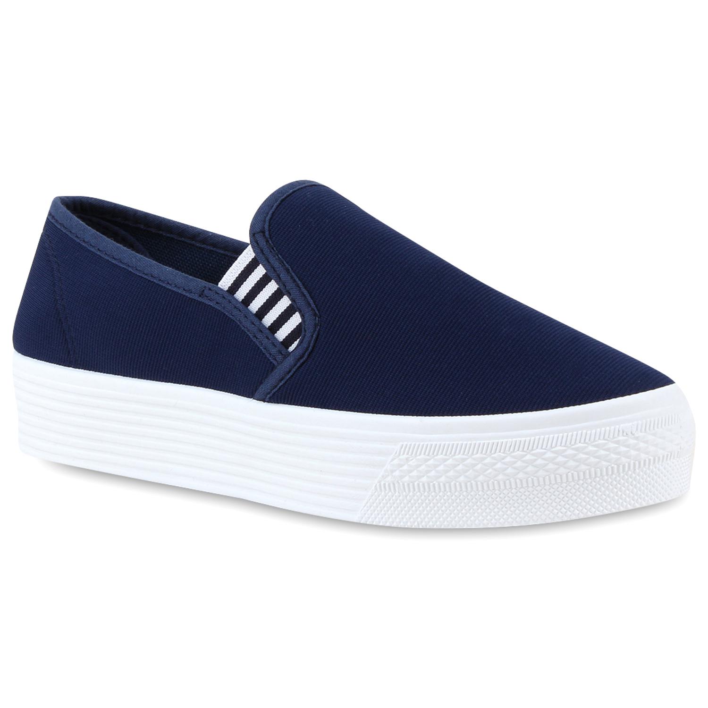 Damen Sneaker Slip Ons - Dunkelblau