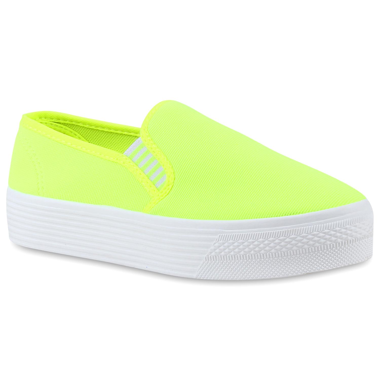 Damen Sneaker Slip Ons - Neon Gelb