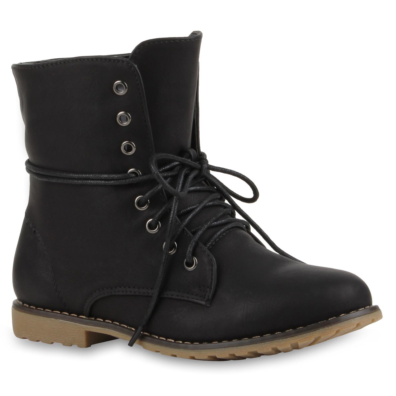 Stiefel - Damen Stiefeletten Schnürstiefeletten Schwarz › stiefelparadies.de  - Onlineshop Stiefelparadies