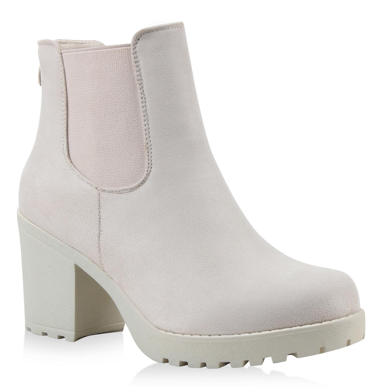 Damen Stiefeletten Chelsea Boots - Nude