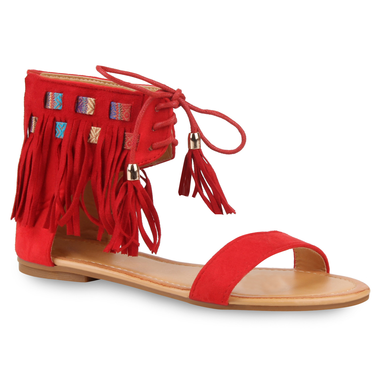 Damen Sandalen Schaftsandalen - Rot