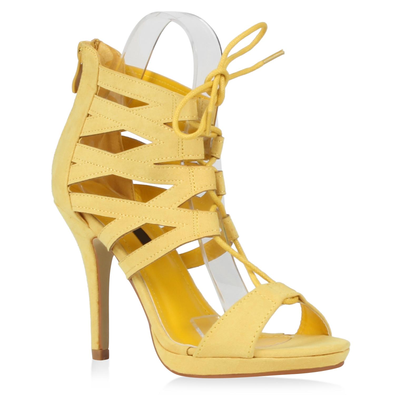 Damen Sandaletten High Heels - Gelb