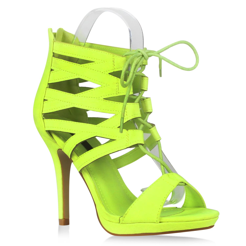 Damen Sandaletten High Heels - Neongrün