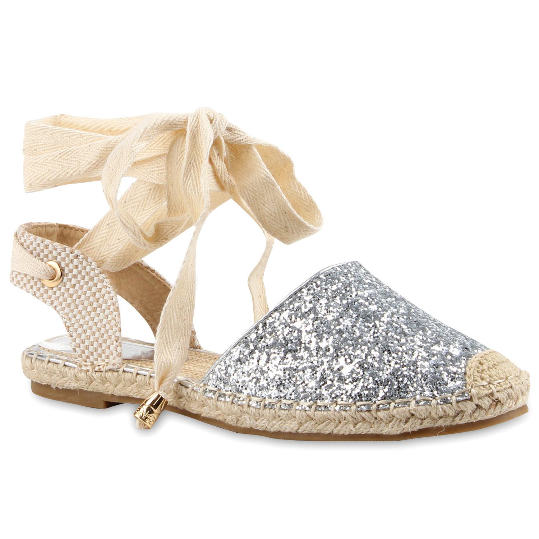 Damen Sandalen Espadrilles - Silber