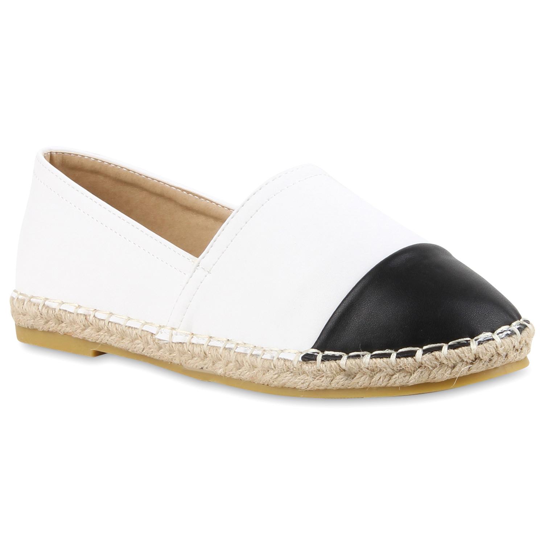 Damen Slippers Espadrilles - Schwarz Weiß