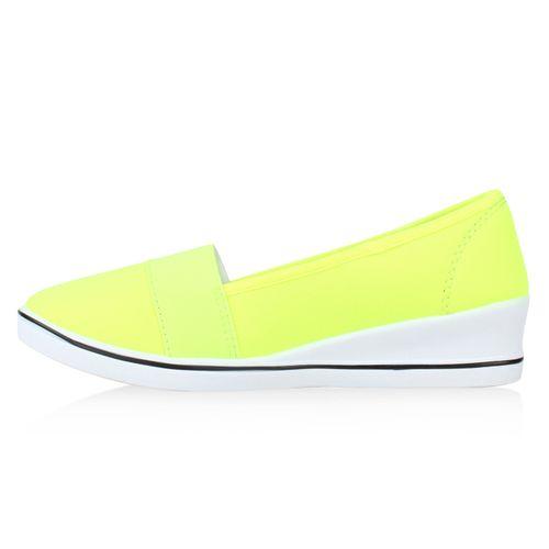 Damen Keilslippers - Neon Gelb