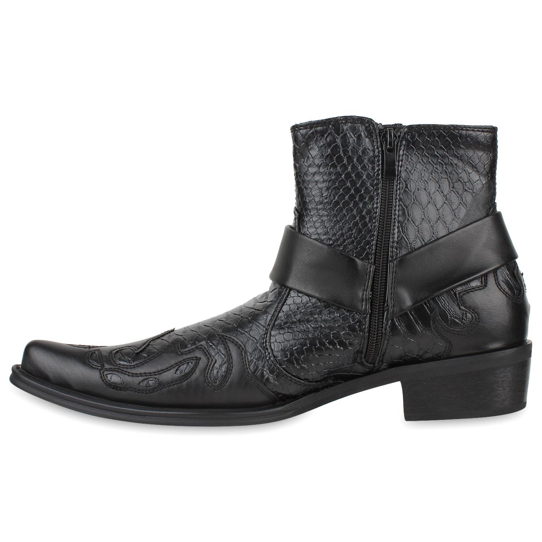 29e3975307f7 Modische Herren Cowboy Boots Nieten Kroko Leder-Optik 810535 Schuhe ...