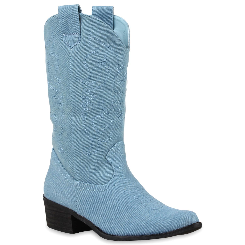 Damen Stiefel Cowboystiefel - Hellblau