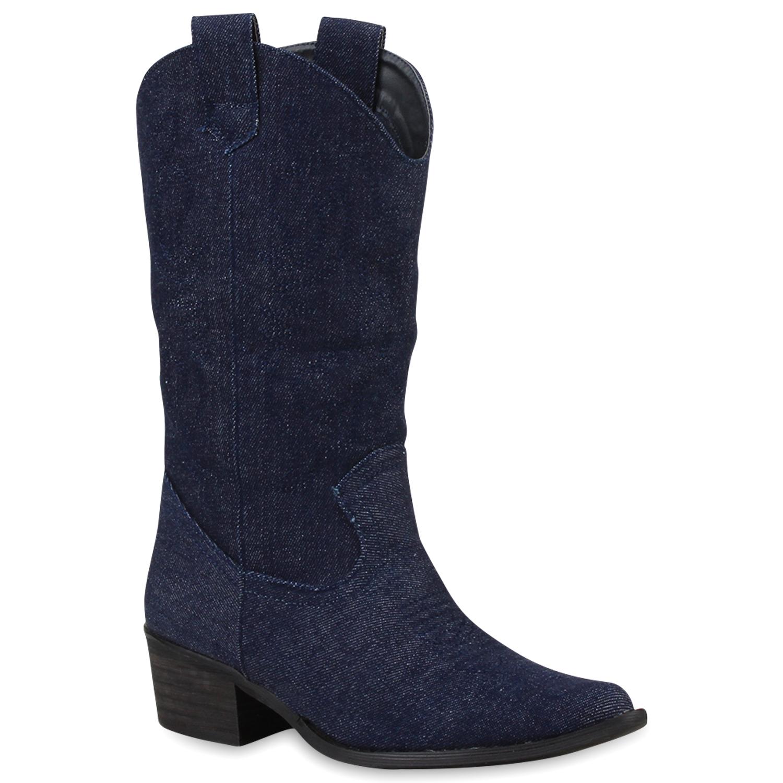 Damen Stiefel Cowboystiefel - Dunkelblau