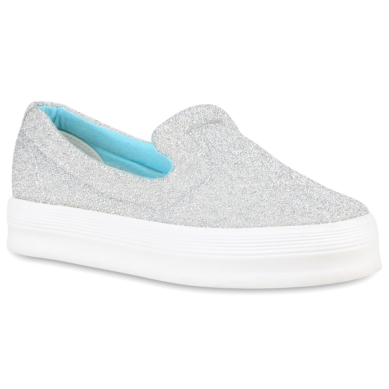 Damen Plateau Sneaker - Silber