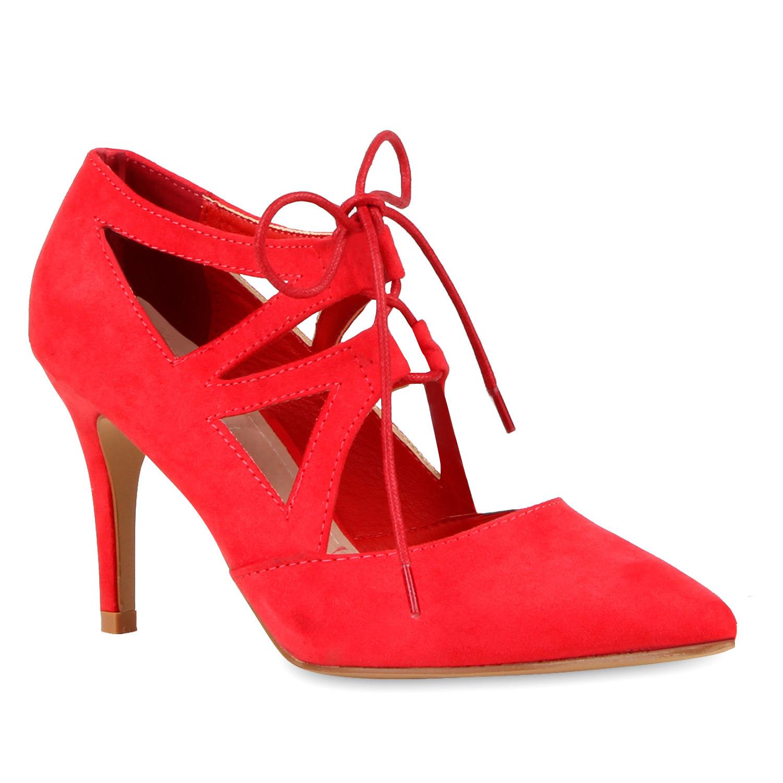 Damen Pumps Schnürpumps - Rot