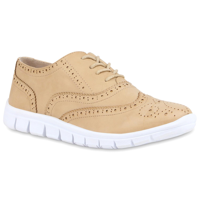 Halbschuhe für Frauen - Damen Klassische Halbschuhe Creme  - Onlineshop Stiefelparadies