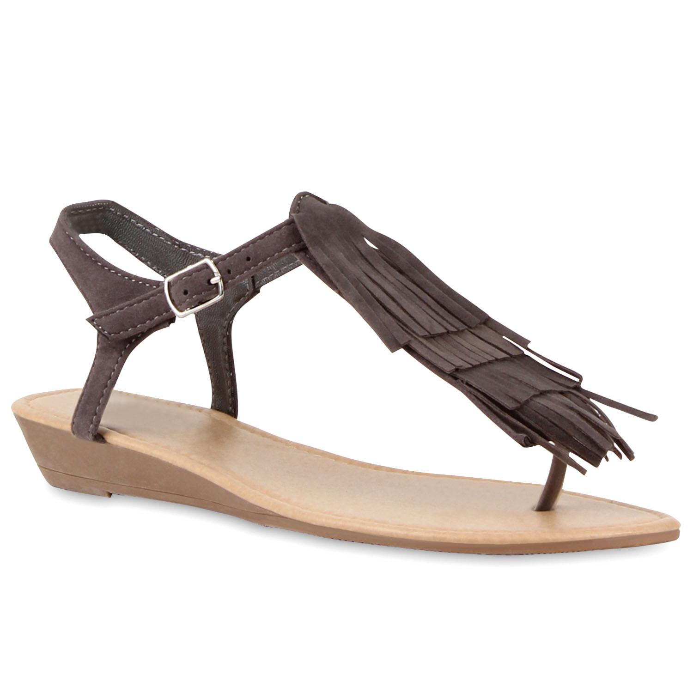 Damen Sandalen Zehentrenner - Grau