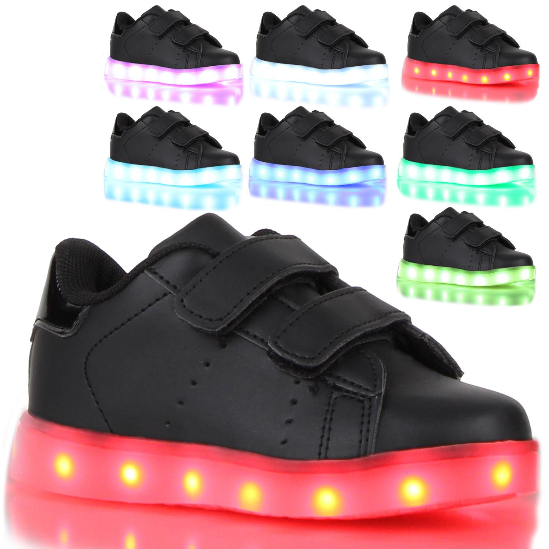 big sale e10ca b41a0 Details zu Neu LED Kinder Leuchtschuhe Sneakers Farbwechsel Klettverschluss  810677 Schuhe