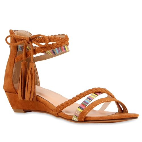Damen Sandaletten Keilsandaletten - Braun