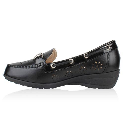 Damen Slippers Keilslippers - Schwarz