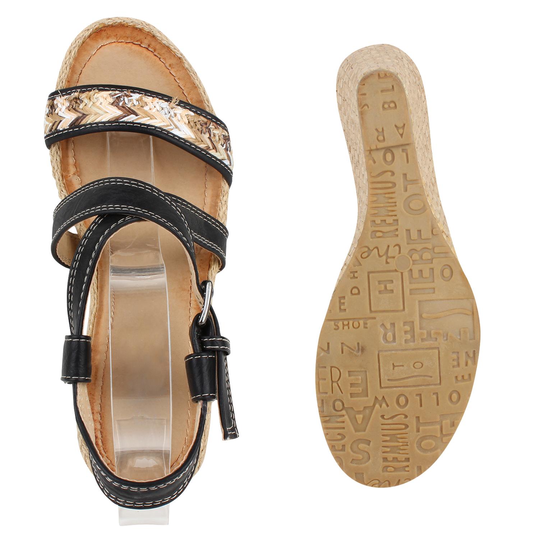 Damen Keilsandaletten Bast Wedges Sommer Schuhe Sandaletten 810868 Top