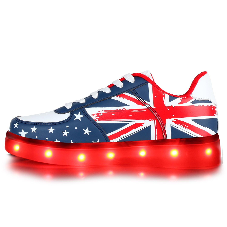 LED Damen Kinder Blink Sneakers Low Australien Flagge Turnschuhe 811049 Schuhe