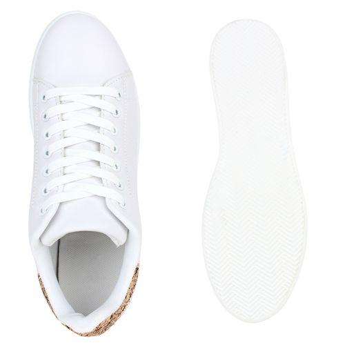 Damen Sneaker low - Weiß Gold Glitzer