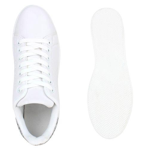 Damen Sneaker low - Weiß Silber Glitzer
