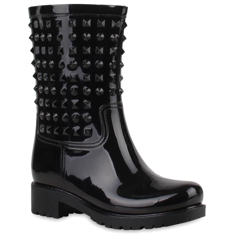 Stiefel für Frauen - Damen Stiefel Gummistiefel Schwarz › stiefelpardies.de  - Onlineshop Stiefelparadies