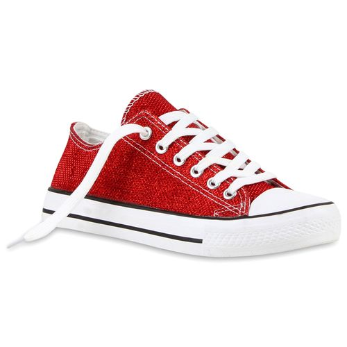 Damen Sneaker low - Rot Metallic
