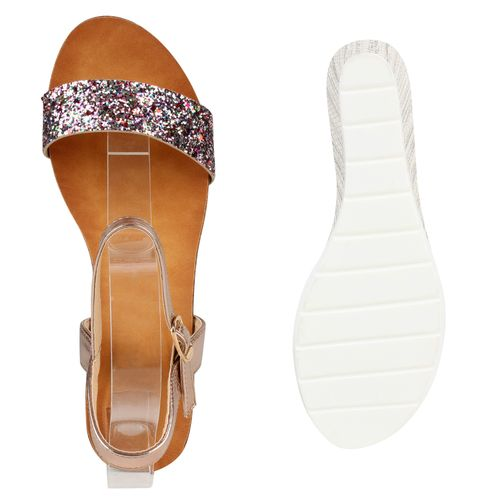 Damen Sandaletten Keilsandaletten - Mehrfarbig