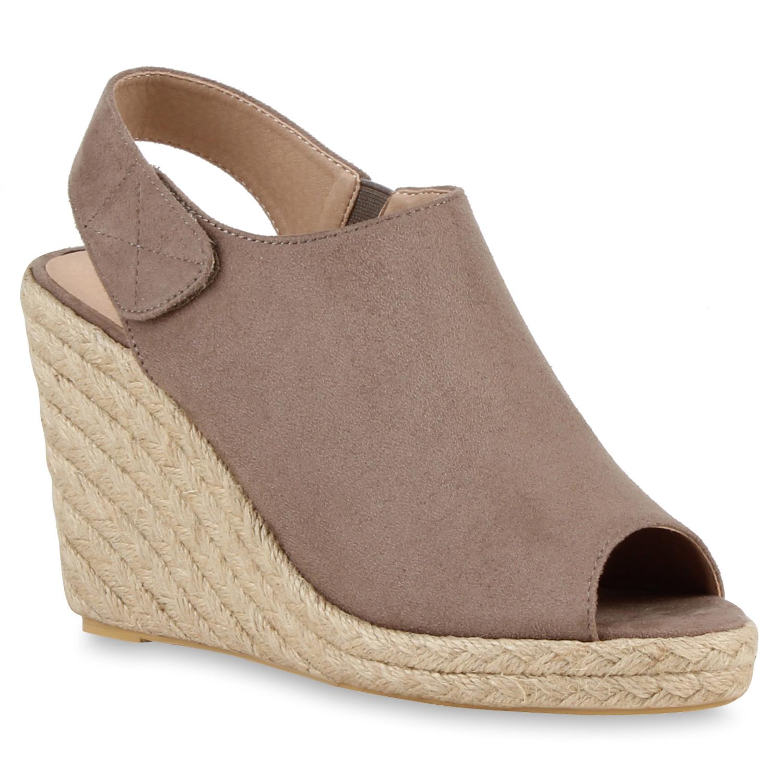 Damen Sandaletten Keilsandaletten - Taupe