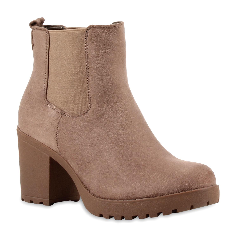 Damen Stiefeletten Chelsea Boots - Taupe