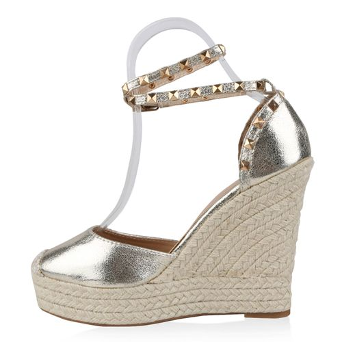 Damen Sandaletten Keilsandaletten - Gold