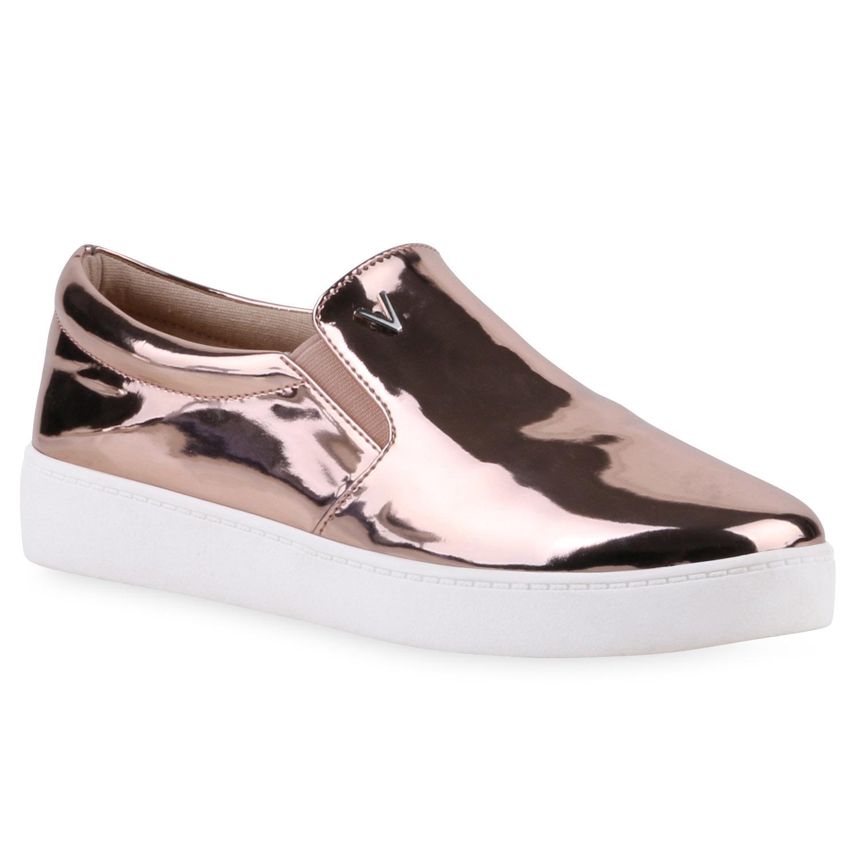Damen Sneaker Slip Ons - Bronze