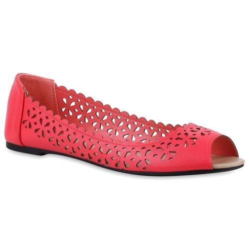 Damen Peeptoe Ballerinas - Coral