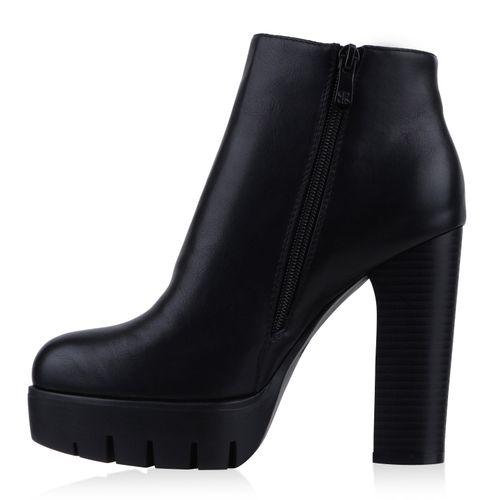 Damen Stiefeletten Plateau Boots - Schwarz Weiß