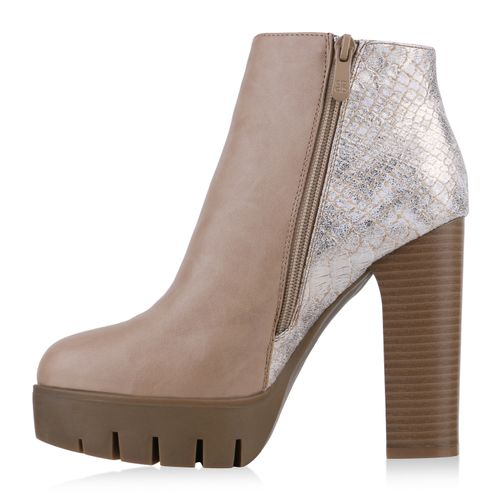 Damen Stiefeletten Plateau Boots - Creme