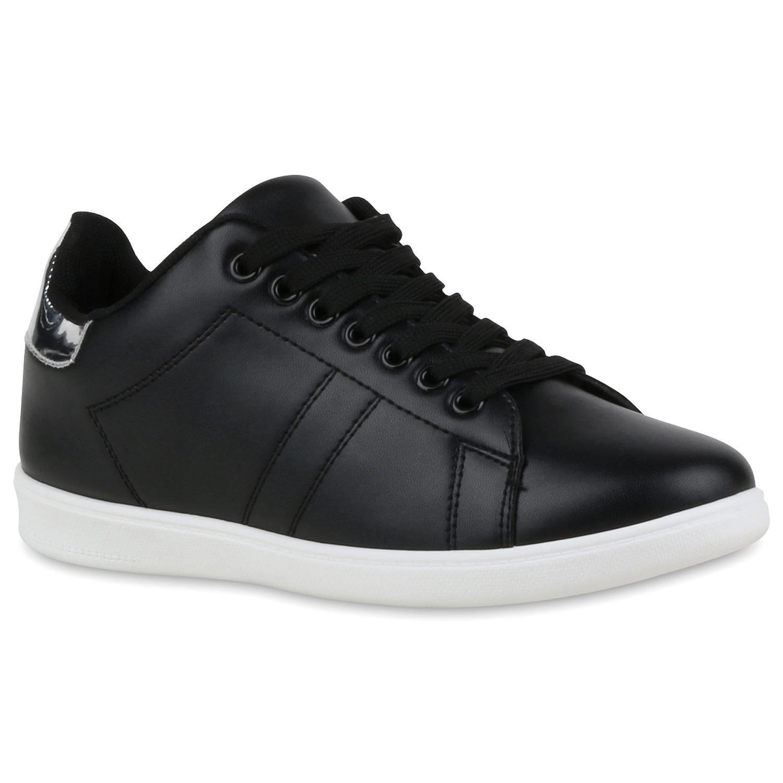 Sneakers für Frauen - Damen Sneaker low Schwarz Silber › stiefelpardies.de  - Onlineshop Stiefelparadies