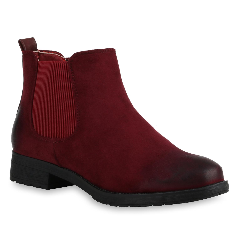 Damen Stiefeletten Chelsea Boots - Rot