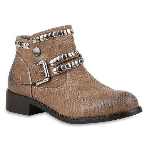 Damen Stiefeletten Biker Boots - Khaki